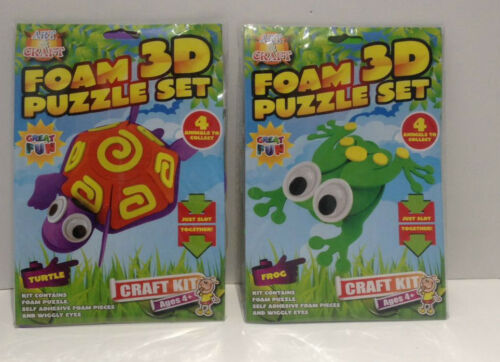 2 x 3d Foam Puzzle Animal Build Make Your Own Frog Lizard Snake Turtle Activity