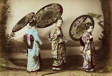 Incorniciato stampa-tradizionale GIAPPONESE GEISHA VINTAGE (foto poster arte orientale)