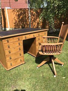 Prime Details About Antique Solid Oak Partners Desk And Antique Desk Chair Lamtechconsult Wood Chair Design Ideas Lamtechconsultcom