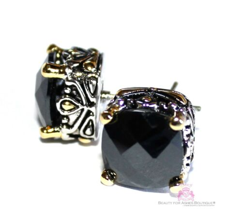 10mm Love Beauty for Ashes Checker Cut Two Tone Throne Room Black CZ Earrings