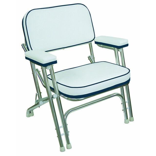 White Navy Deck Chair Aluminum Frame Fishing Boat Vinyl Plastic Seat Folding New