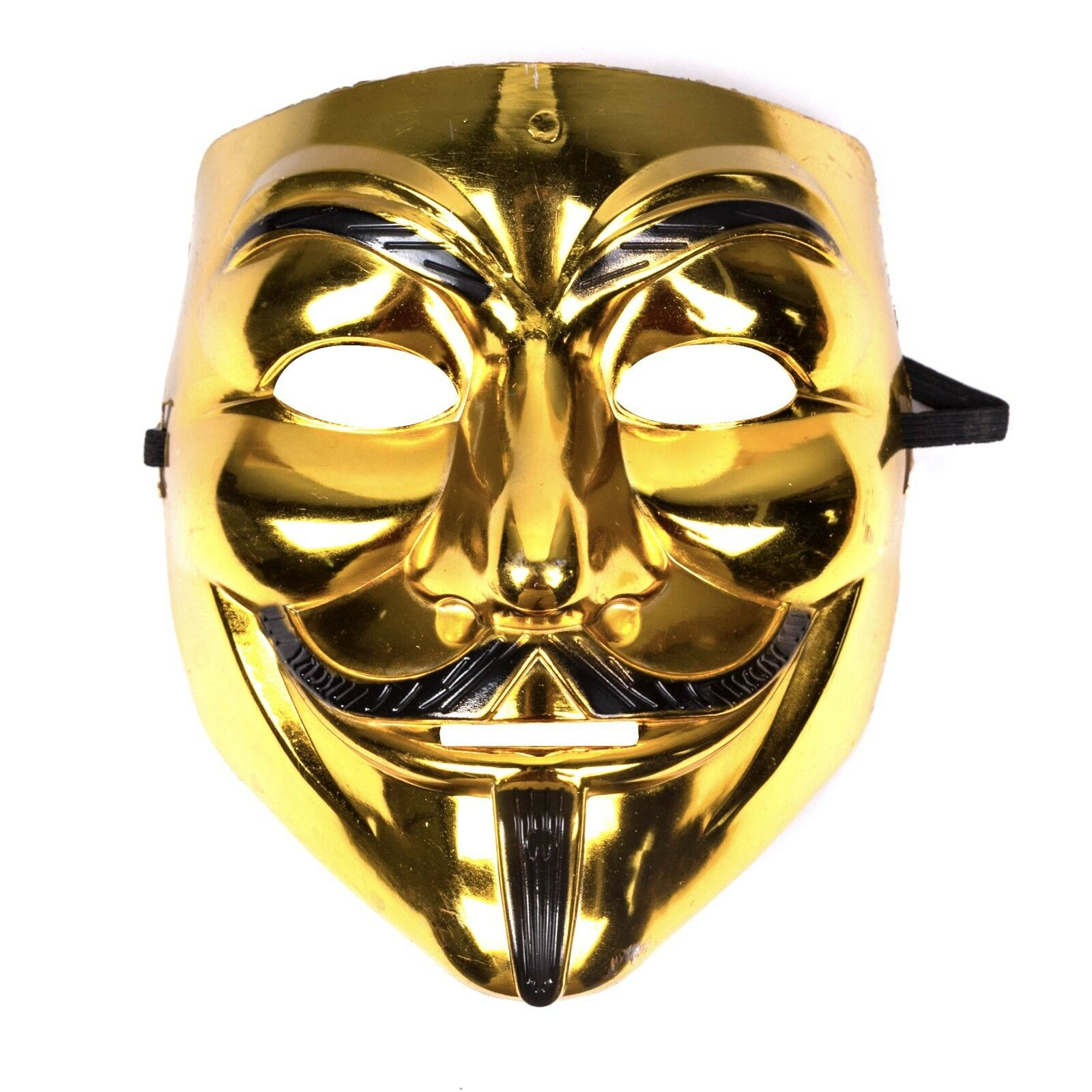 Mens womens unisex guy fawkes plot anonymous halloween fancy dress mask gold ebay - Pictures of anonymous mask ...
