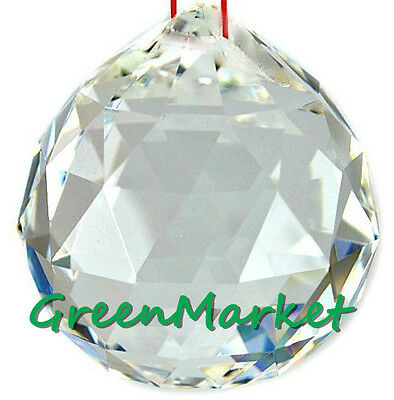 1pc 30mm Chandelier Hanging Feng Shui Pendant Beads Glass Crystal ball- Clear