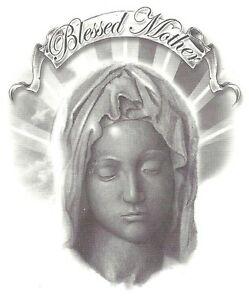 Religious blessed mother mary temporary tattoo new for Holy mary tattoo