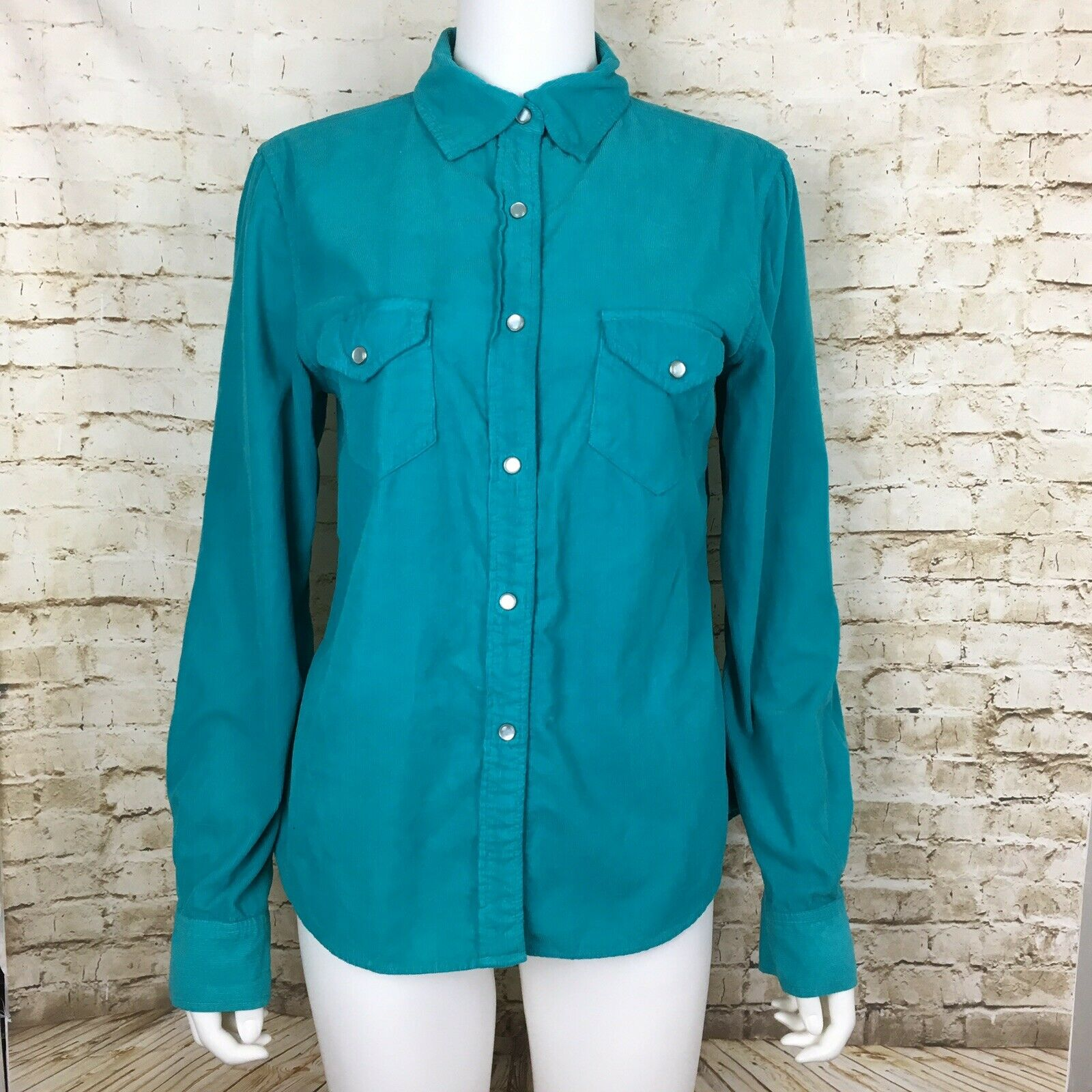 Pete & Greta By Johnny Was damen's Blau Grün Corduroy S Pearl Button