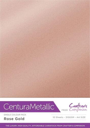Rose Gold Crafter/'s Companion Centura Metallic 10 Sheet A4 Craft Card Pack