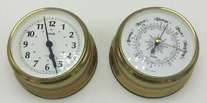 Made in Germany Stockburger Brass Ships Clock and Barometer - RARE MODEL