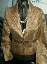New $275 Anthropologie True Meaning Snakeskin Blazer Jacket W/ Feather Waist 6