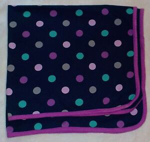 Just One You Blue Polka Dot Baby Blanket Purple Grey Green Cotton Swaddle