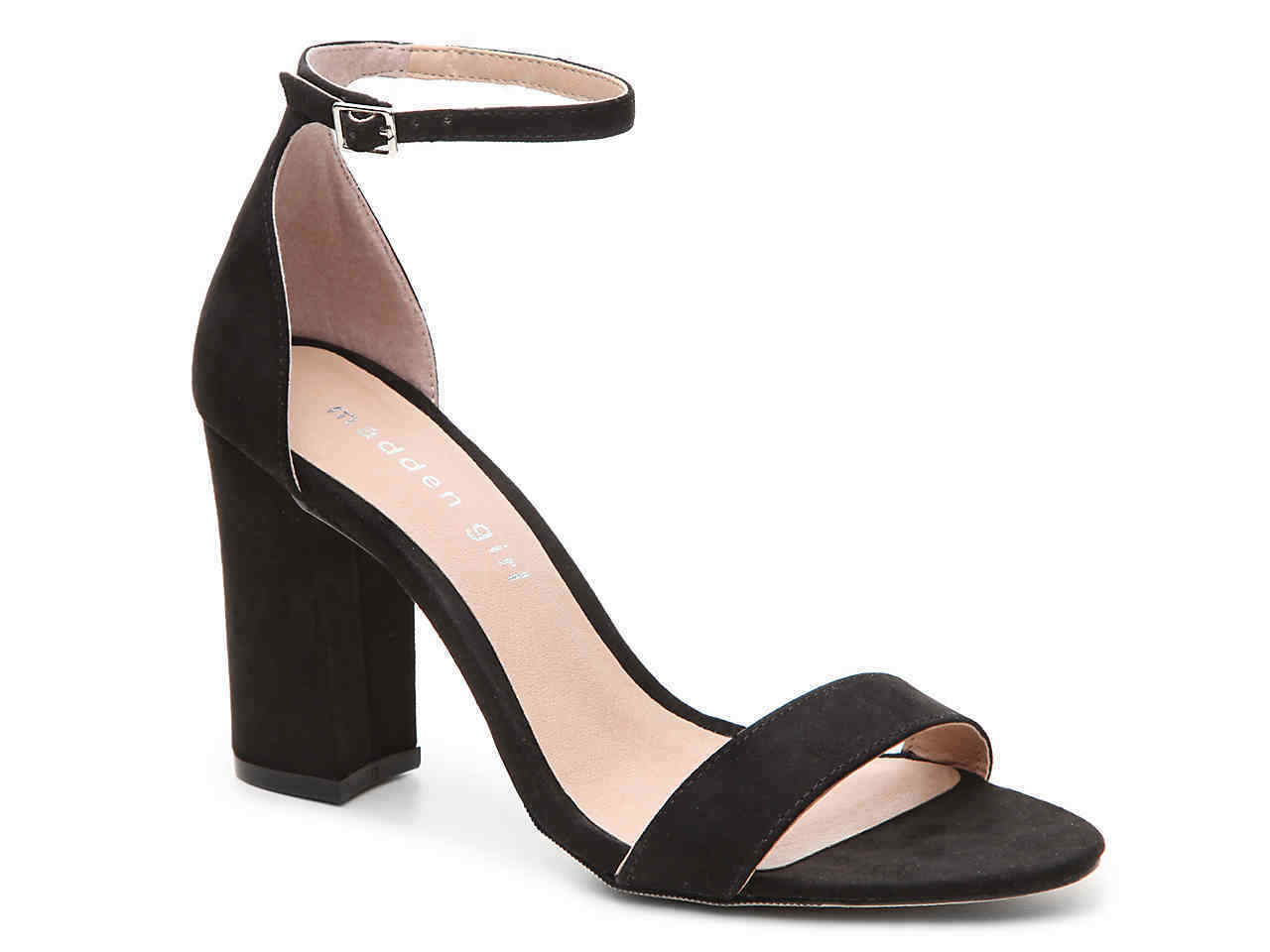 size 9 Madden Girl Beela Black Heels Womens Ankle Strap Strappy Sandals Womens Heels Shoes f57525