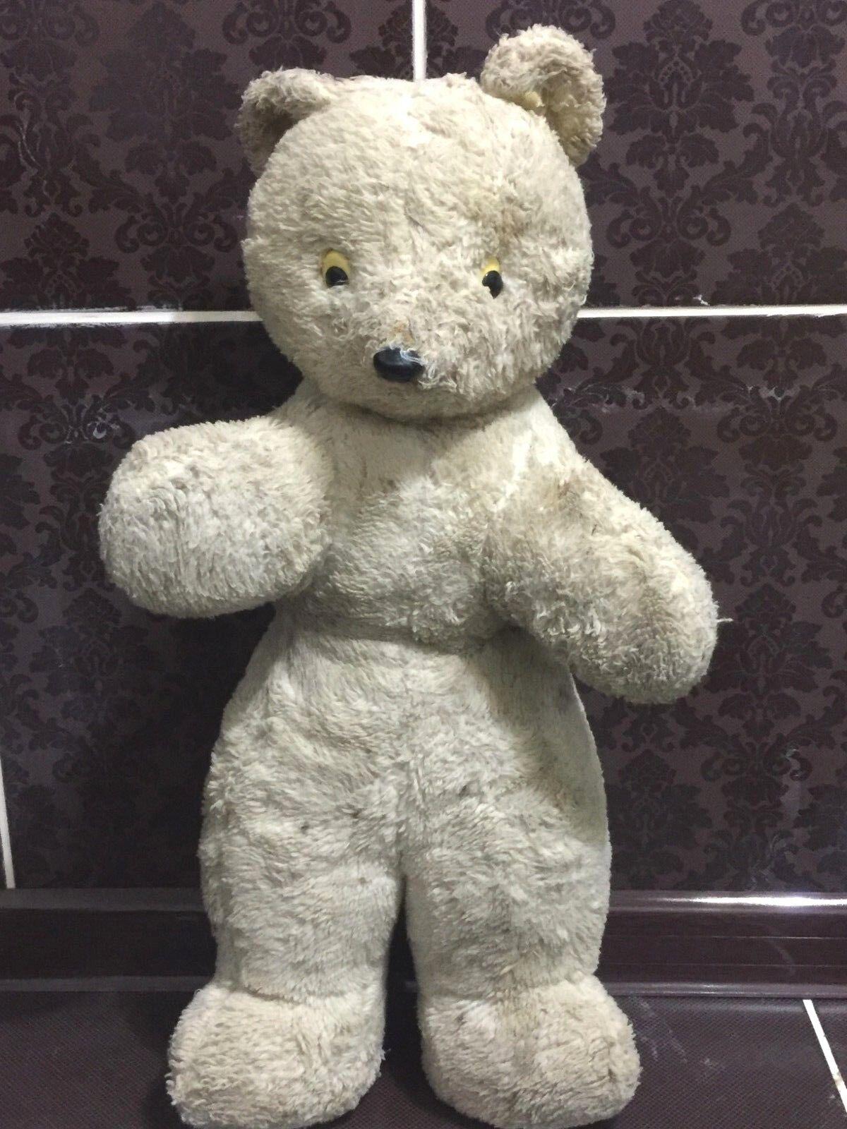 Rare Vintage Soviet 1950s Toy USSR Plush Bear Sawdust Big Size 53 cm