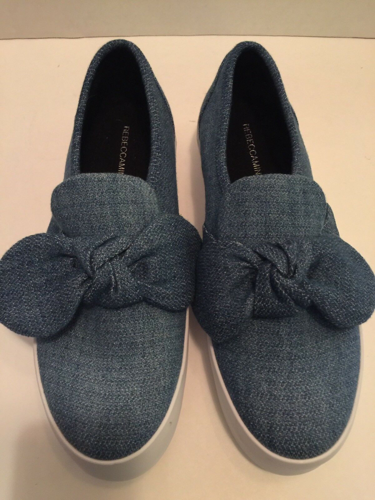 Rebecca-Minkoff-Stacey-bluee Denim-Bow-Platform-Sneakers- shoes Size-8.5 M (e8)