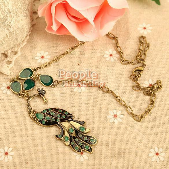 Vintage Style Green Enamel Peacock Chain Necklace Charm Animal Pendant Bronze