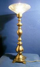 ANCIENNE GRANDE LAMPE LAITON MASSIF ET COUPELLE HOLOPHANE PRETE A BRANCHER