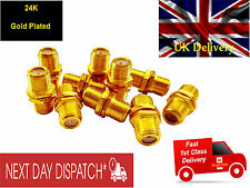 10 x Gold F81 Connector Female Adapter - F Plug  joiner TV Aerial or Satellite