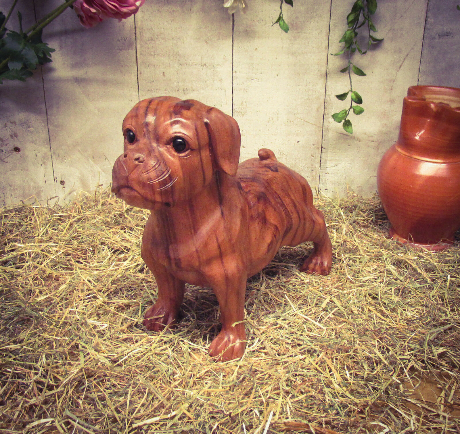 Hand Carved Mahogany Wooden Boxer Dog