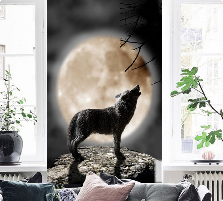 3D Round moon, wolf Wall Paper Wall Print Decal Wall Deco Indoor Wall Murals