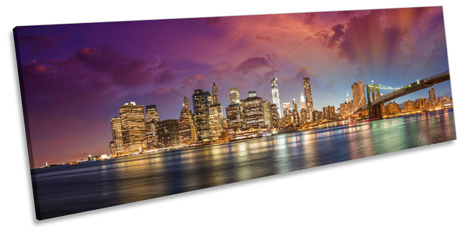 NEW YORK YORK YORK CITY MANHATTAN TRAMONTO CANVAS Wall Art Panorama incorniciato stampa 14a99f