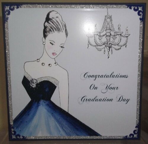 Handmade Personnalisé Graduation Day carte avec une femme élégante en bleu
