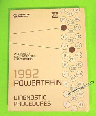 1992 Dodge 2.5L Turbo I Fuel Injection Powertrain Service Manual Spirit Shadow