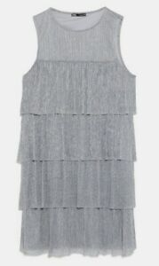 ZARA-WOMAN-NWT-SALE-METALLIC-THREAD-DRESS-SILVER-KNIT-SIZE-M-REF-1131-808