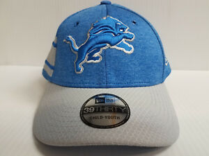 buy popular b5143 73338 Image is loading YOUTH-Detroit-Lions-Cap-New-Era-39Thirty-Stretch-
