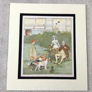 1885-Antik-Chromolithographie-Viktorianisches-Kinder-Hunde-Welpe-Hund-Aufdruck