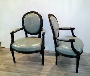 Superb Details About Pair Antique French Arm Chairs In Later Blue Leather Inzonedesignstudio Interior Chair Design Inzonedesignstudiocom