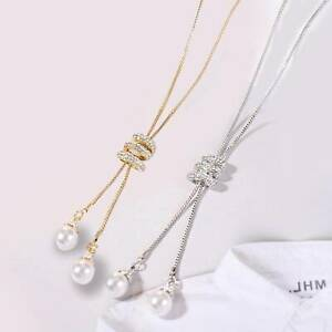 New-Jewelry-Pearl-Pendant-Necklace-Exquisite-Long-Tassel-Sweater-Chain-UK