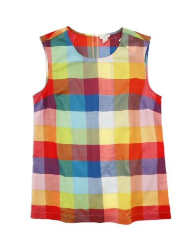 Rainbow Gingham Woven Cotton Tank Top NWT J.Crew Factory Womens 00