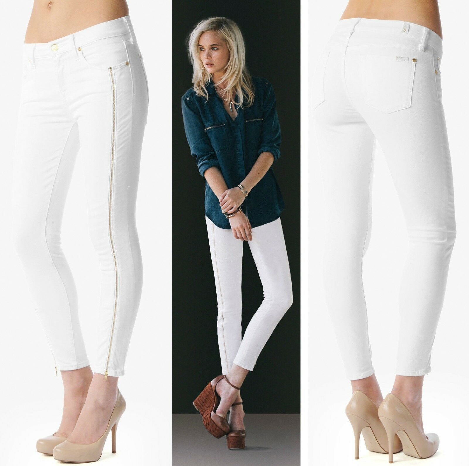 215 7 For All Mankind Clean White Slim Illusion Cropped Skinny Leg Zips Jeans
