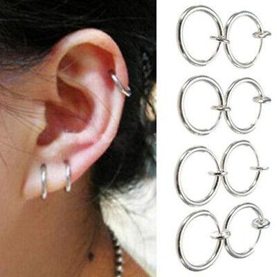 8PCS Punk Clip On Fake Nose Lip Hoop Rings Earrings Silver Body Piercing D4
