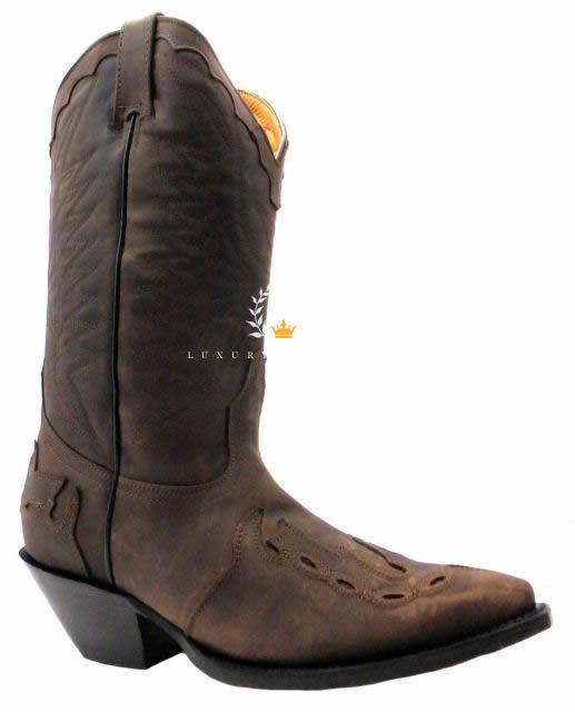 Grinders Arizona Braun Unisex Leder Stiefel Cowboy Western Spitze Slipper    | Moderne und elegante Mode