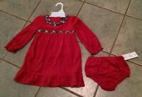 Chaps Toddler Holiday Red Velvet Dress Bloomers Plaid Sash Ruffle 6m 18m 24m