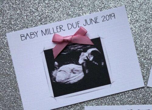 enveloppes C7 Personnalisé scan Grossesse annonce cartes//Baby annonce