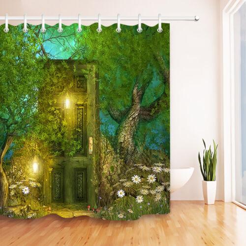 "Fairy Tale Wood Door Tree Shower Curtain Liner Waterpoof Fabric Bathroom Mat 72/"""