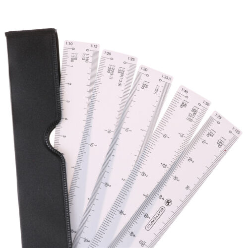 Fan Shape Architects Scale Ruler For Graphics Design Multi Ratio Measure Tool YH