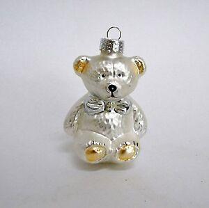 Silver-3-034-Teddy-Bear-Blown-Glass-Christmas-Ornament