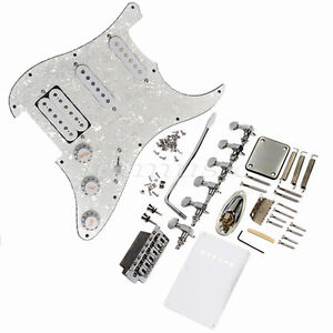 White-Pickguard-Pickup-Bridge-Knobs-Tuner-For-Fender-Strat-Electric-Guitar-Parts