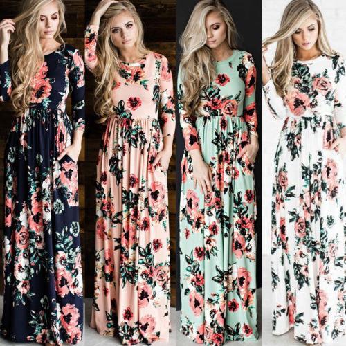 Women Floral Print Long Sleeve Boho Dress Ladies Evening Party Long Maxi Dress