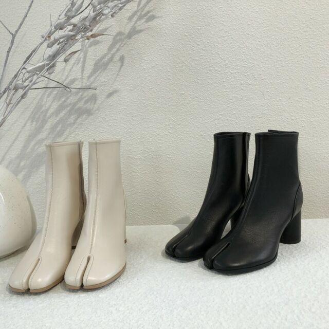 Womens Fashion Leather Tabi Split Toe Block Heel Booties Ankle Boots Shoes QQCE