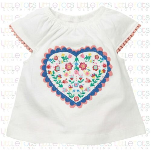 New Mini Boden Baby White Heart Embroidered Pom Pom T-Shirt RRP£18 3-24Month