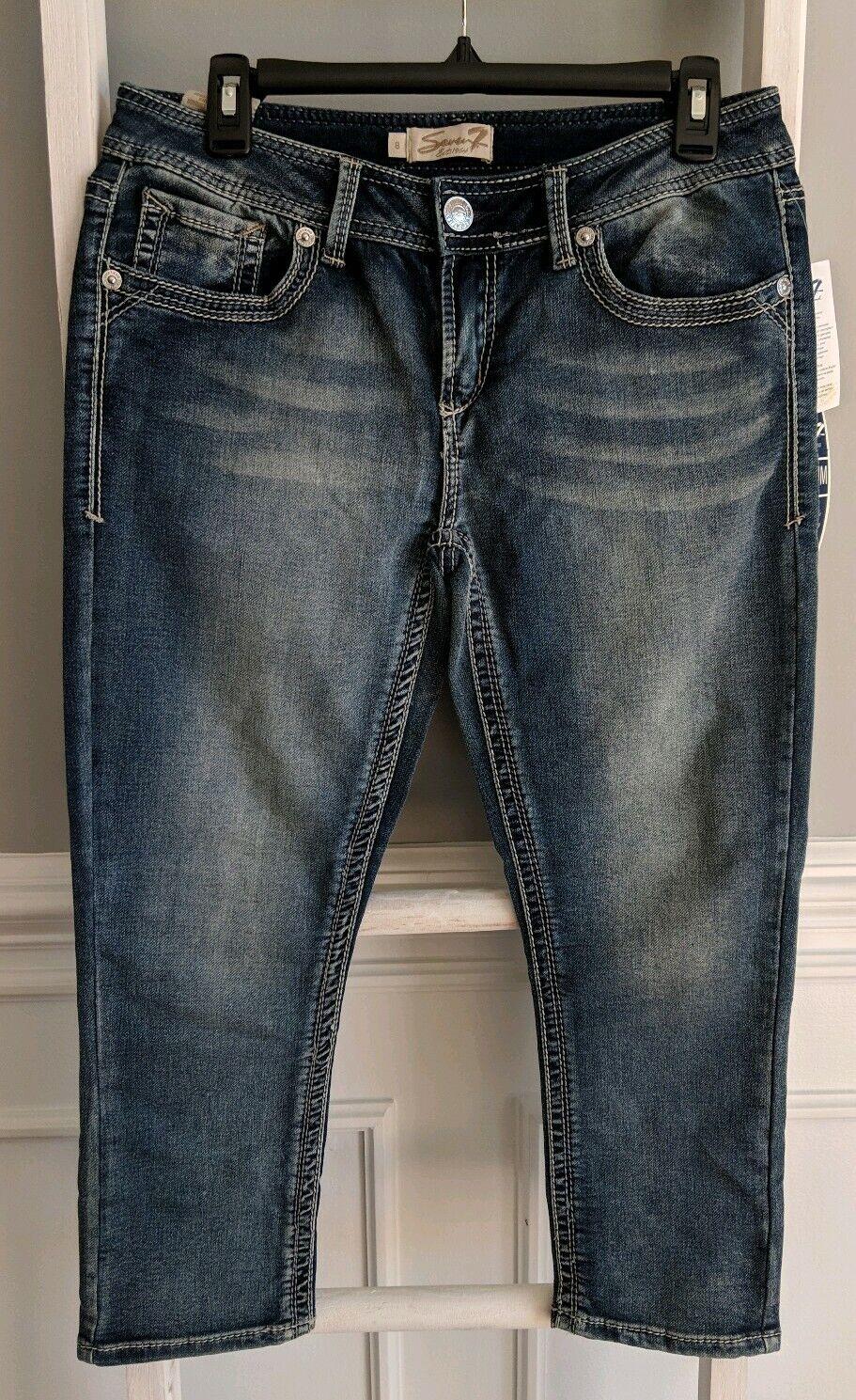 SEVEN 7 Capri Distressed Jeans Size 8  x 23 Medium Wash Cropped Jeans