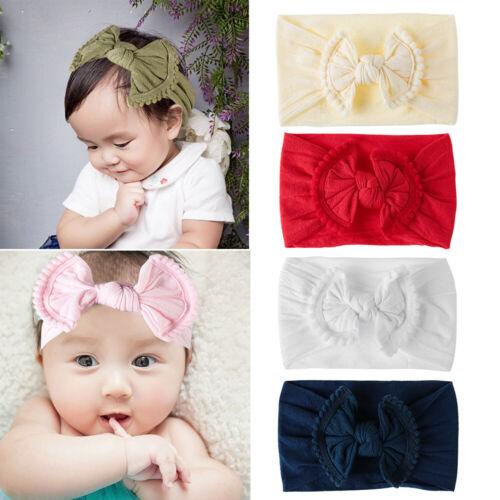 Newborn Hair Band Toddler Baby Bow Knot Elastic Nylon Headband Beanie Headwear