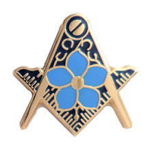 Square and Compass Cut Out Masonic Freemason Forget Me Not Gilt Pin Badge