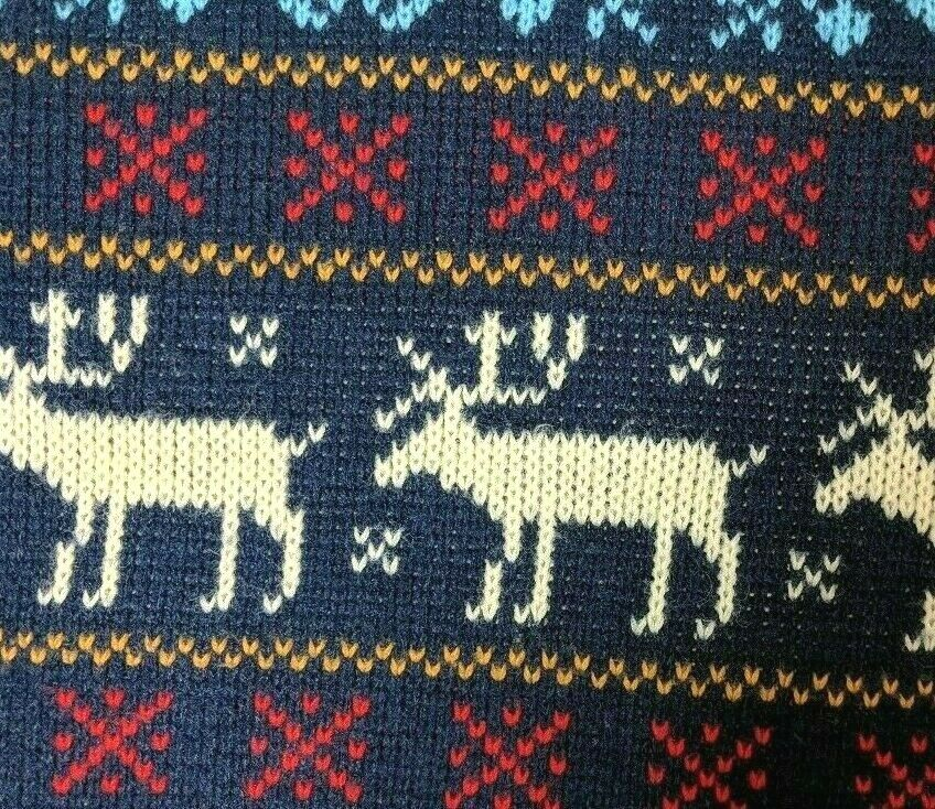 Vintage Jersild Sweater Deer Print Blue Red Acryl… - image 5