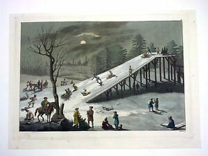 Decorative Arts Art Punctual 1827 Italian Print Angelo Biasioli Moonlit Scene Winter Sports Moscow Ferrario Refreshment
