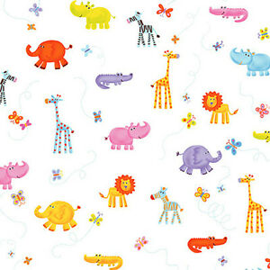 SOFT-COTTON-DUVET-DRESS-CLOTH-CHILD-BABY-FABRIC-CUTE-JUMANJI-ANIMALS-WHITE-44W