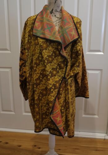 Gypsy Hippie Størrelse Large Psy Doof Boho Håndlavet Reversibel Jacket Coat qEr8Zqgxw