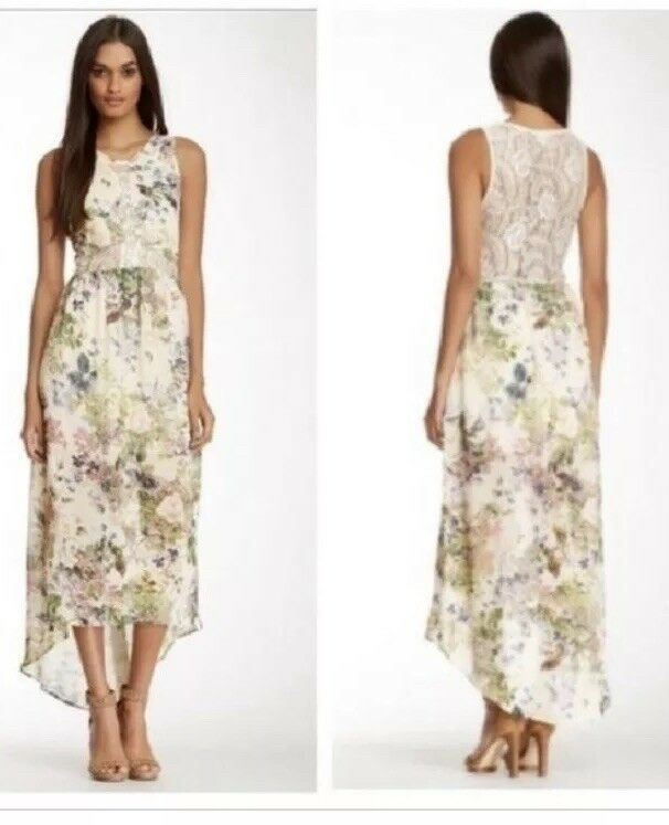 ASTR Floral Print Sheer and Lace High Low Hi Lo Dress Size Medium